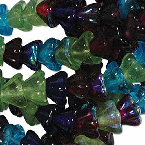 Gemstone Mix 6x8mm Flower Cone 45 Bead Cap Czech Glass Beads - Glass Flower Cone