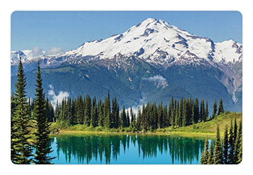 Lunarable Landscape Pet Mat for Food and Water, Majestic Glacier Peak in Washington Tree in Water Meadow Hiking Artwork Print, Rectangle Non-Slip Rubber Mat for Dogs and Cats, Green Blue Glacier Christmas Tree