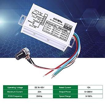 Regulador De Velocidad Motor 9V 12V 24V 48V 60V 20A,Controlador Motor 0-1200W Regulador Pwm Del Motor En Modelos Rc, Ventiladores,Soldadores,Bombillas Dc