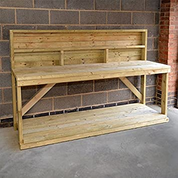 NEW 6FT WOODEN WORK BENCH WITH BACK PANEL, HEAVY DUTY, STRONG U0026 STURDY.