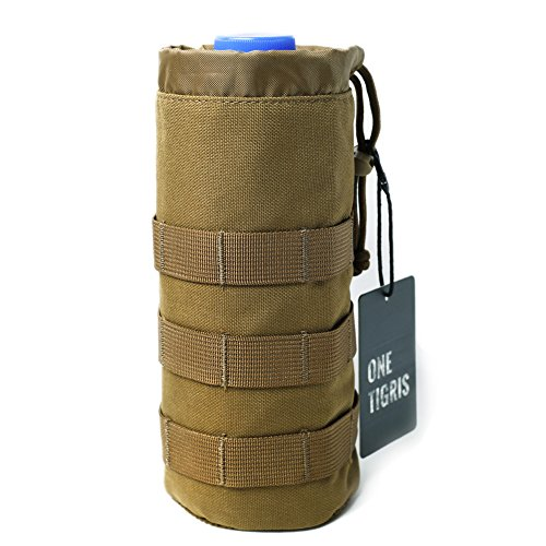 "OneTigris Drawstring Water Bottle Pouch for 32oz Carrier 9.4""x3.7"" (Tan)"