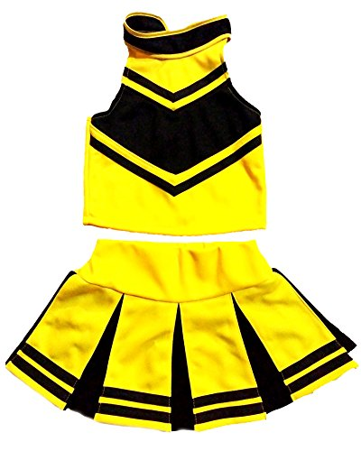 Little Girls' Cheerleader Cheerleading Outfit Uniform Costume Cosplay Halloween Yellow/Black (S / 2-5) (Cheer Halloween Costumes)