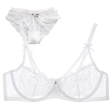 7da8f17f02 Europe and The Ultra Thin Underwear Put MS Hollow Out Sexy Lingerie lace  Transparent Lingerie Bra Set at Amazon Women s Clothing store