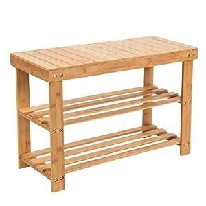 SMAGREHO Natural Bamboo Shoe Bench 2 Tier Shoe Rack Organizer Entryway Seat Storage Shelf