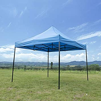GOJOOASIS 10×10 EZ Pop Up Canopy Tent Commercial Instant Shelter with Heavy Duty Roller Bag Blue