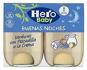 Hero Baby Buenas Noches Verduras con Pescadilla a la Crema Tarrito de Puré para Bebés a partir de 8 meses Pack de 6 u de 2 x 190 g