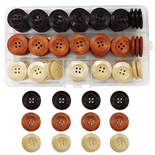 IDOXE Assorted Round Sewing Wood Wooden Buttons for Crafts B