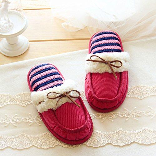 Fortuning's JDS Unisexo Adultos Pareja acogedor Lana Casa Calzado ovejas encantadoras Confortable Zapatillas Rosa