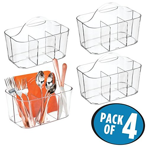 mDesign Kitchen Cabinet Divided Cutlery Storage Caddy Bin - BPA Free - 4 Section Tote with Built-In Handle for Organizing Forks, Knives, Spoons, Napkins - Pack of 4, Clear