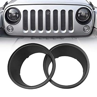 Allinoneparts Front Headlight Black Trim Cover Bezels Pair Jeep Wrangler Rubicon Sahara Sport JK Unlimited Accessories 2 Door 4 Door 2007-2020: Automotive