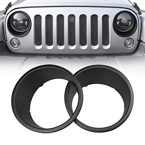 Allinoneparts Front Headlight Black Trim Cover Bezels Pair Jeep Wrangler Rubicon Sahara Sport JK Unlimited Accessories 2 Door 4 Door 2007-2018