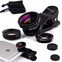 Mengde 3 in 1 Clip-on Camera Lens, Professional 180 Degree Supreme Fisheye + 0.67X Wide Angle + 10X Macro Lens For iPhone 7 6s 6 plus Samsung LG Black