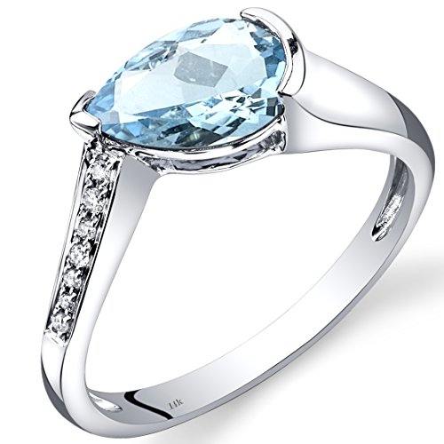 14K White Gold Aquamarine Diamond Tear Drop Ring 1.29 Carats Total