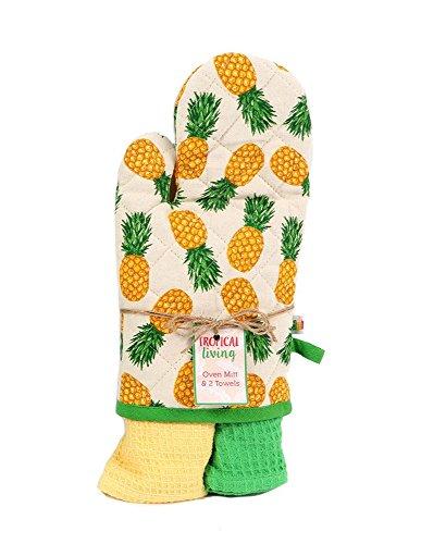 DEI Pineapple Oven Mitt with 2 Dishtowel Gift Set by DEI