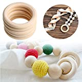 Amrka Baby Tooth Toy Teething Rings Wooden Necklace Bracelet DIY Crafts Natural 70mm Pack of 5