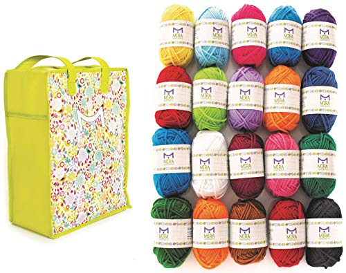 Mira Handcrafts 20 Acrylic Yarn Balls | Total of 875 Yards Knitting and Crochet Yarn | Perfect Starter Kit | Multicolor Yarn Set | Storage Bag and 7 Ebooks with Patterns Included | DK Craft Yarn Pack