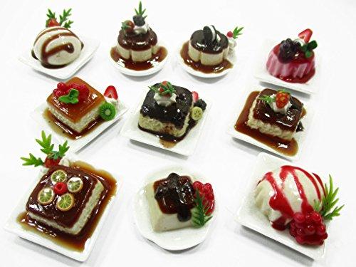 (Dollhouse Miniatures Food 10 Fruit Pudding Ceramic Plates Desserts Sweet 14696)
