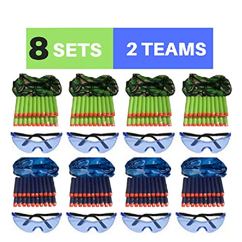 Wishery Nerf Party Supplies for 8 Kids, Compatible with Nerf Guns. Nerf Gun Party Favors, Accessories for Nerf War, Nerf Birthday - Darts, Tactical Camo Face Mask, Eye Safety Glasses ( 2 Teams) .