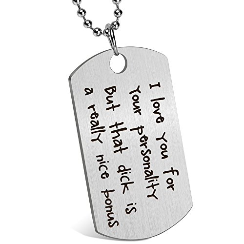 Valentines Gift Gift Day (Gift for Boyfriend Husband Personalized Dating Whisper Dog Tag Necklace Pendant Naughty Words Jewelry Couples Keychain Gift for Valentine's Day Anniversary (♥I'm serious))