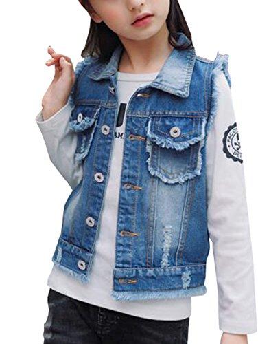 MYtodo Solid color girl vest burr cowboy vest children cardigan jacket (14-15 Years)