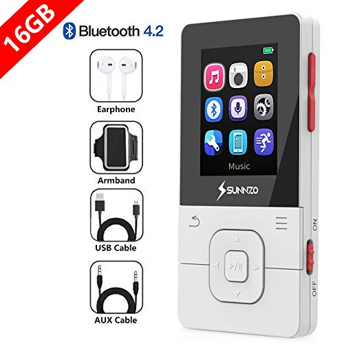 SUNNZO X16 16GB Bluetooth MP3 Player,with 50 Hrs Playback,High Definition Lossless Music Player with Bluetooth 4.2,FM Radio,Recorder and Pedometer Function;Earphone,AUX Cable and Armband Included