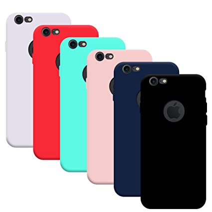 6x Funda iPhone 7/ iPhone 8, Yidaxing Funda Silicona Gel Carcasa Ultra Delgado Flexible TPU Goma para iPhone 7/ iPhone 8 con 6 Colores, Negro, Azul, ...