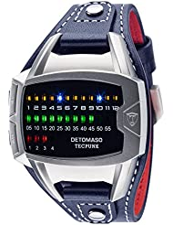 DETOMASO Tecpunk Mens Digital Wrist Watch Silver Stainless Steelcasing Blue Leather Strap Binary Look With Stylish...