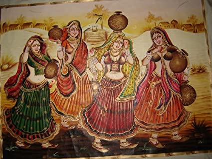 RAJASTHANI WALL PAINTING Village Women