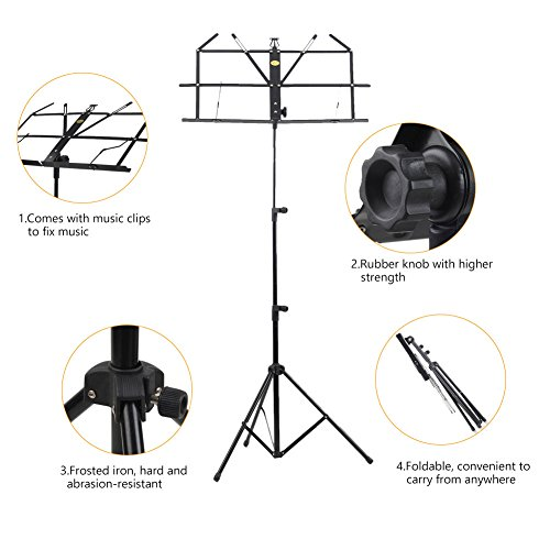 ADM Folding Adjustable Music Stand with Carrying Bag, Portable Metal Holder for Sheet Music, Black by ADM (Image #2)