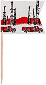 Car Mountain Tower Chinese Revolution Toothpick Flags Labeling Marking for Party Cake Food Cheeseplate