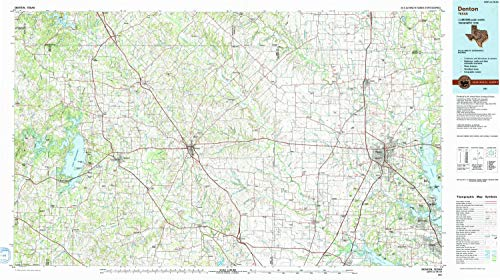 YellowMaps Denton TX topo map, 1:100000 Scale, 30 X 60 Minute, Historical, 1991, Updated 1991, 24.1 x 43 in - Paper ()