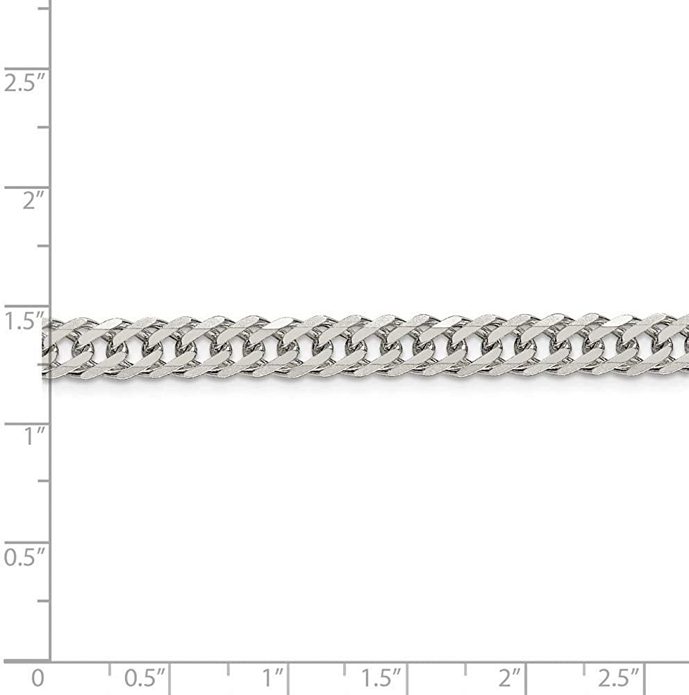 925 Sterling Silver Double 6 Side Sparkle-Cut Flat Link Chain Necklace in Silver Choice of Lengths 18 20 24 and Variety of mm Options