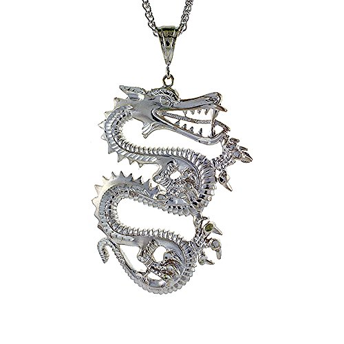 Sterling Silver Chinese Dragon Pendant, 2 3/16 inch