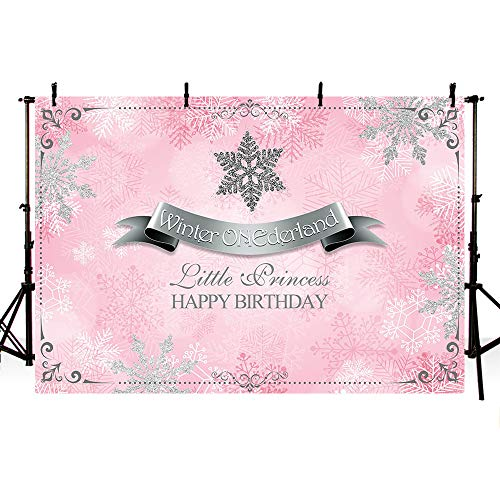 MEHOFOTO Winter Wonderland Photography Studio Backgrounds Party Decorations Snowflakes Pink and Silver Princess Birthday Banner Photo Backdrops 7X5ft]()