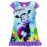 ZHBNN Vampirina Toddler Girls Summer Nightgown Pajamas Party dress(Purple,110/4-5Y)