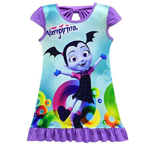 ZHBNN Vampirina Toddler Girls Summer Nightgown Pajamas Party dress(Purple,110/4-5Y) by ZHBNN