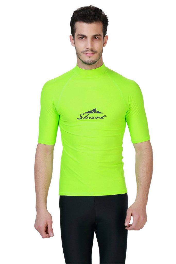 Fortuning's JDS® Men's UV protection short sleeve crew rash guard swimwear surfing beach shirt top