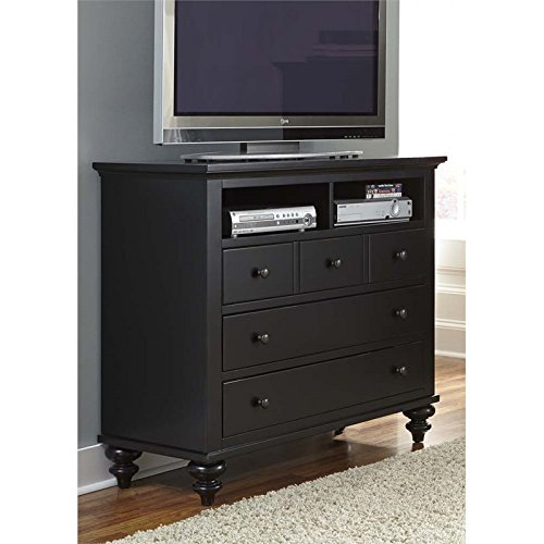 Liberty Furniture Hamilton III Bedroom 5-Drawer Media Chest, Black Finish