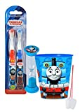 """Thomas The Train"" Inspired 4pc Bright Smile Oral Hygiene Set! Thomas & Friends 2pk Soft Manual Toothbrush, Brushing Timer & Mouthwash Rinse Cup! Plus Bonus ""Remember To Brush"" Visual Aid!"