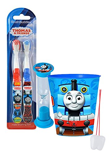 """Price comparison product image """"Thomas The Train"""" Inspired 4pc Bright Smile Oral Hygiene Set! Thomas & Friends 2pk Soft Manual Toothbrush, Brushing Timer & Mouthwash Rinse Cup! Plus Bonus """"Remember To Brush"""" Visual Aid!"""