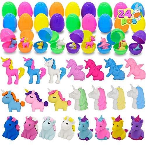 Prefilled Easter Eggs with Unicorn Erasers (24Pcs), Assorted Unicorn Pencil Erasers, Pencil Top Filled Eggs for Kids…