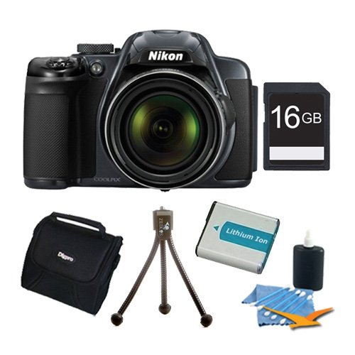 Nikon COOLPIX P520 16.1 MP CMOS Digital Camera with 42x Zoom NIKKOR ED Glass Lens and GPS Record Location (Black) Premiere Bundle With 8GB SD Card , Dig Pro Case , Cleaning Kit -