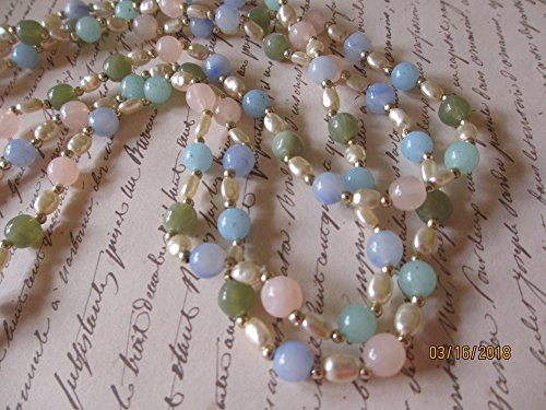 Vintage Asstd Shell Bead Necklace Earrings Set, Vintage Something Blue NecklaceJewelry Sale Handmade Triple Strand Assorted Color Beaded Necklace