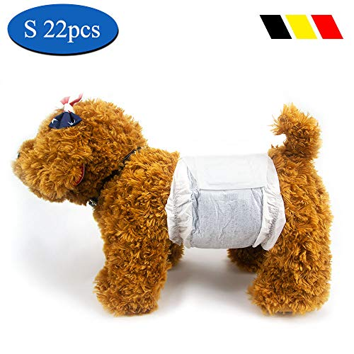 DONO Disposable Boys Dog Diapers Male Small Doggy Wraps Belly Bands for Chihuahua Or Yorkie, Absorbing Odor and Urine with Carbon Technology,S, 22pcs