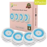 Clarisonic Compatible Facial Brush Replacement Heads With Caps for Deep Pore Cleansing-Fits Mia, Mia 2 & 3 and All Other Models, 4-Pack