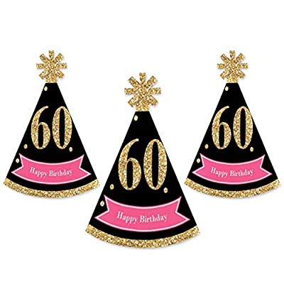 Big Dot of Happiness Chic 60th Birthday - Pink, Black and Gold - Mini Cone Birthday Party Hats - Small Little Party Hats - Set of 8: Toys & Games