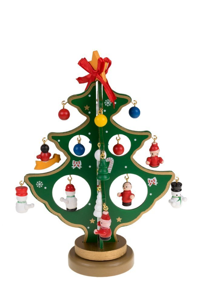 TSJ Small Desk Top Christmas Tree 7.2 Inch With 21 Piece Miniature Wooden Christmas Ornaments Perfect for Office Shop Christmas Gifts