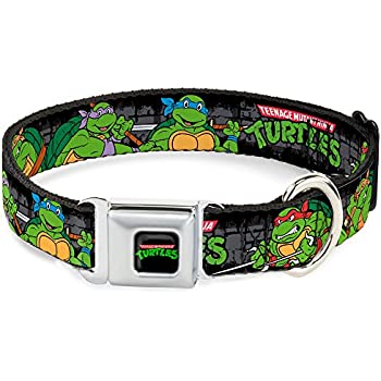 Buckle-Down Seatbelt Buckle Dog Collar - Classic TMNT Group Pose4 in Sewer/TMNT Logo - 1