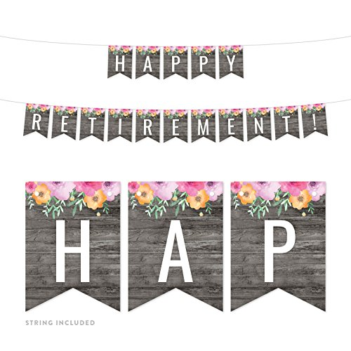 Andaz Press Modern Gray Wood with Flowers Retirement Party Banner Decorations, Happy Retirement!, Approx 5-Feet, 1-Set, Birthday Wedding Baby Shower Floral Colored Hanging Pennant Decor