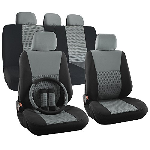 OxGord 17pc Set Flat Cloth Mesh (Gray/Black) Wide Stripe Seat Covers - Airbag Compatible - Universal Fit + Steering Wheel Cover